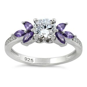 Jewelry - Clear and Amethyst CZ Sterling Ring